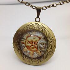 CELESTIAL MOON SUN PHOTO LOCKET PENDANT Wicca Glass Dome Bronze Tone Jewelry