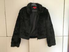 Sexy L  black fake fur coat Jacket fetish high heels sissy schwarz