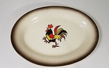 VINTAGE RARE KITCHEN RED ROOSTER METLOX POPPY TRAIL PLATTER 11 x 8 INCHES
