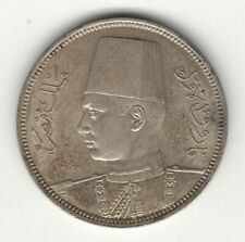 1939 EGYPT FAROUK SILVER 5 PIASTRES UNCIRCULATED