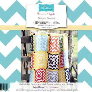 Chevron Squares Quilt Kit, 100% cotton fabric by Nellie's Needle for Riley Blake