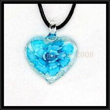 Fashion Noctilucent heart lampwork Murano art glass beaded pendant necklace BB19