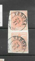 Antichi Stati lombardo veneto 15 cent n.6 coppia verona firmato Sorani