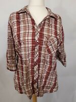 Denver Hayes Check Shirt - Size 18/20 - Red & White Check - Cotton