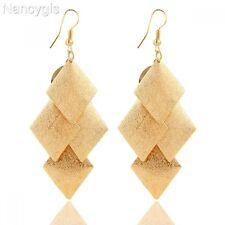 Pretty Gold Geometric Dangle Diamond Shape Layers Party Gift Long Earrings