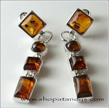 Magnificent Cognac Baltic Amber 925 Sterling Silver Earrings