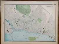 """Vintage 1900 MONTREAL CANADA Map 14""""x11"""" ~ Old Antique ANJOU LACHINE LASALLE"""