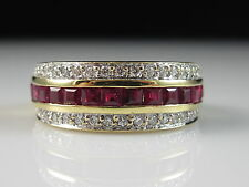 18K Ruby Diamond Ring Band Yellow Gold Fine Jewelry Channel Set Square Size 6