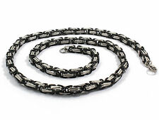 "20-36""MEN Stainless Steel 5mm Gold/Silver/Black Byzantine Box Chain Necklace"
