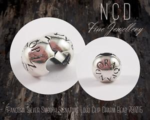NC Designs Authentic Pandora Silver Smooth Signature Logo Clip Charm Bead 791015