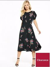 Black Floral Summer Dress Fluted Sleeve Midi Dress By Very Beautiful Stretchy