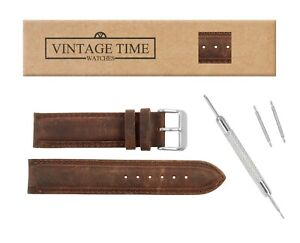 VintageTime Watch Straps - Smooth Suede Padded Leather Replacement Watch Bands