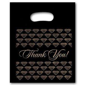 "100 Medium Black Thank You Merchandise Plastic Retail Handle Bags 9"" x 11"" Tall"