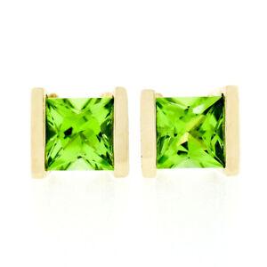 Classic 14K Yellow Gold 2.60ct Square Cut Channel Set Peridot Post Stud Earrings