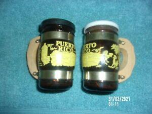 SALT AND PEPPER SHAKERS PUERTO RICO RUM BARREL BROWN PAINTED GLASS WOOD HANDLES