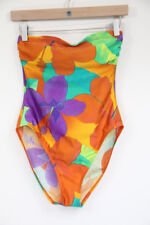 626d79f5291ce Vintage High Cut Swimsuit One Piece Womens Floral Ann Cole 8 Strapless  vacation