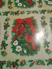 VTG CHRISTMAS WRAPPING PAPER GIFT WRAP ONE SHEET CARDINAL BIRDS DURABLE PAPER