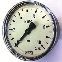 """Manometer 1/4"""" Zoll Anschluss hinten axial WIKA 0-10 bar Wasser Luft Heizung"""