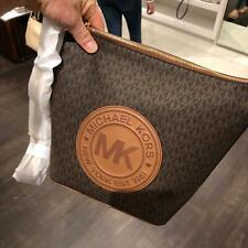 Michael Kors Women Large PVC Leather Messenger Zip Bag Handbag Purse Brown Gold