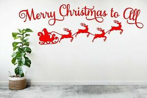 Merry Christmas to all Wall Stickers Window Vinyl Decal UK 26cmx80cm