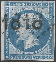 NAPOLÉON N°14B cachet d'essai Gros Chiffres 1818 bâton de Lyon signé Calves B/TB