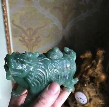 Raro Original Chino Natural Jade de Hetian Tallada a Mano Estatua China Imperial León