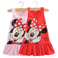 Kids Girls Baby Minnie Mouse Dress Party Sleeveless Vest Skirt Clothes 0-5 Years