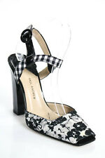 Paul Andrew Black White Square Toe Floral Print Slingbacks Heels Size 37  7 NEW