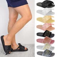 Ladies Women Summer Fluffy Farrah Fur Rubber Slip On Sliders Mules Sandals Shoes