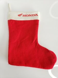 "Vintage Honda Motorcycles Power Sports 12"" Christmas Holiday Stocking Red White"