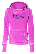 Paw Print Heartbeat Pet Rescue Ladies Fleece Pullover Hoody