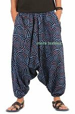 INDIAN BAGGY GYPSY HAREM PANTS YOGA MEN WOMEN COTTON SPIRAL PRINT TROUSERS BLUE