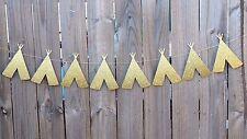 Teepee Garland Banner Bunting - Gold Tee Pee Tribal Decorations