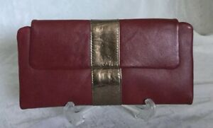 Large MANZONI Red/Gold Leather Wallet/Clutch Bag