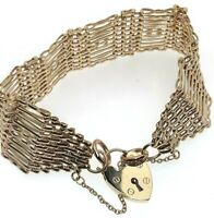 """Vintage 9ct Yellow Gold Big Chunky Solid Gate Bracelet 1971 Heavy 48.06g 8"""" circ"""