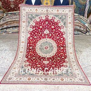 Yilong 5'x8' Red Antique Handwoven Silk Carpet Medallion Handmade Area Rug 415B