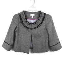 Ann Taylor Loft Size 6 Cropped Blazer Jacket Wool Blend Ruffle 3/4 Sleeves