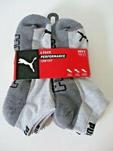 Puma Mens 6 pair sport style low cut socks size 10-13 shoe size 6-12 grey
