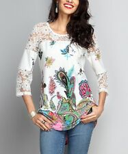 Size 10 Long Top Ladies Womens White Paisley Lace Accent Tunic BNWT #B-1013