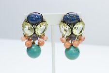 Iradj Moini Citrine Turquoise Lapis Lazuli Scarab Earrings