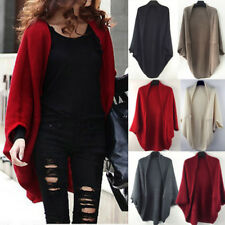 Womens Long Cardigan Loose Sweater Batwing Sleeve Knitted Outwear Jacket Coat