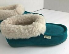 NEW GREAT NORTHWEST Women's Slippers size 9 Blue Moccasins Shearling Wool Suede