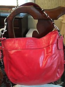 COACH CRINKLY PATENT LEATHER ZOE HOBO BAG PURSE--ORANGE / RED VERMILLION COLOR
