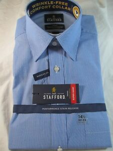 NWT STAFFORD PERFORMANCE SUPER SHIRT Regular Fit DRESS SHIRT Blue Mini Stripe