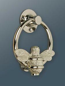 Brass Ring Bee Door Knocker - Nickel Finish - Brass Bumble Bee Door Knocker