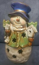 "HOLIDAY COLLECTION 9"" CERAMIC SNOWMAN CANDLE HOLDER"