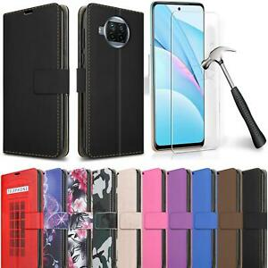 For Xiaomi Mi 10T Lite 5G Wallet Case, Leather Stand Phone Cover + Screen Glass