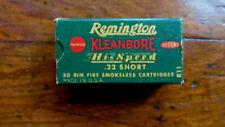 Vintage Remington Kleanbore Hi Speed 22cal. Short Shell Box