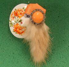 LADY HEAD doll FACE Porcelain-Look Resin Brooch Pin Flapper RS Mink Handmade