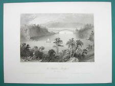 CANADA Quebec Chaudiere Bridge & 1855 AD Smith & Knapp Carpet Dealers New York